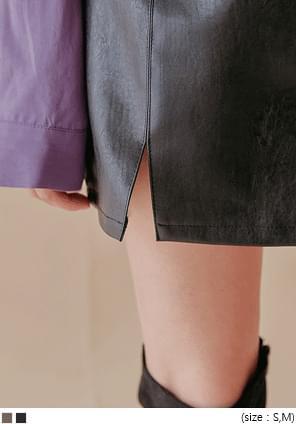 韓國空運 - 單側開衩仿皮A字短裙 裙子