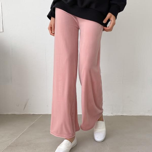 Crisp Wide Velvet Banding Pants #75496