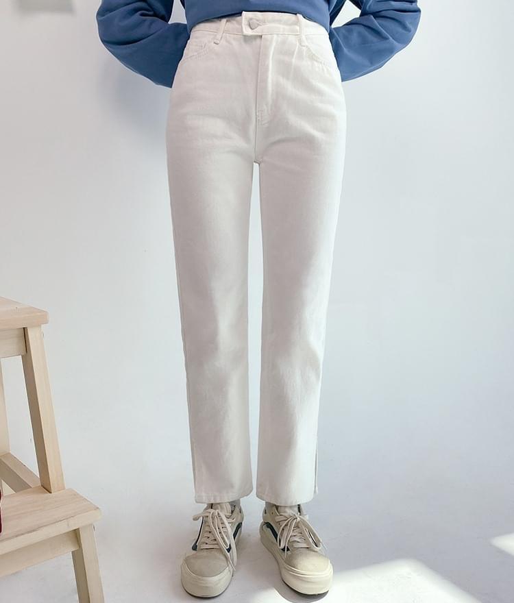 韓國空運 - Cropped Slit Hem Pants 牛仔褲