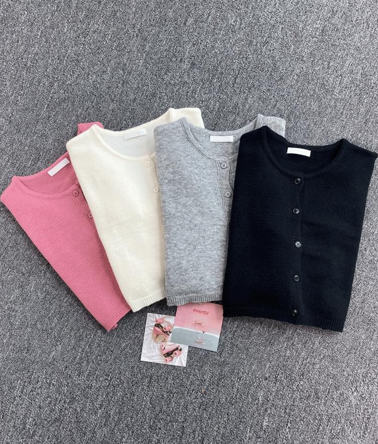 Basic Cropped Knit Cardigan