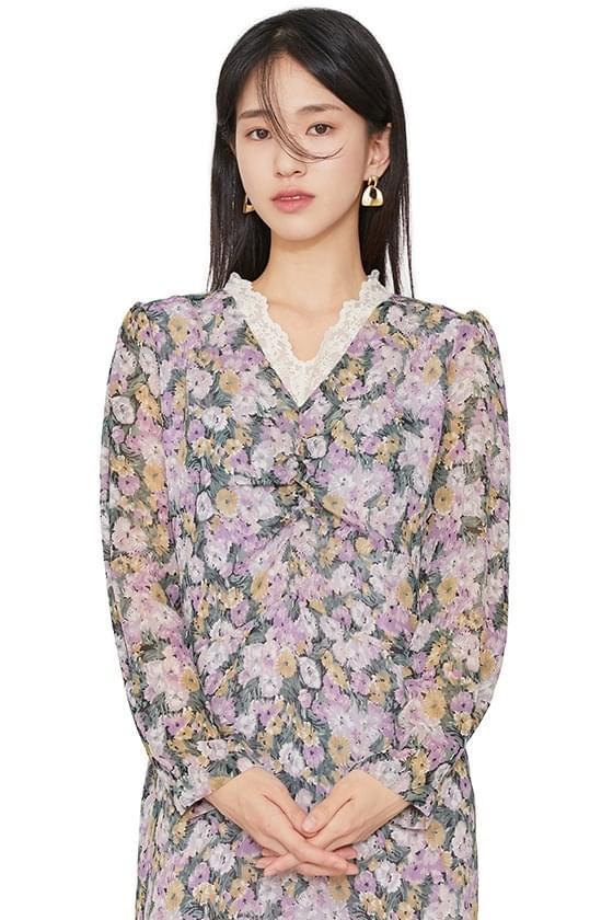 Rosy flower midi dress