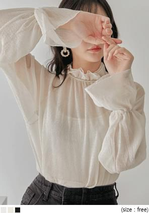 RASIAN FRILL SEETHROUGH BLOUSE