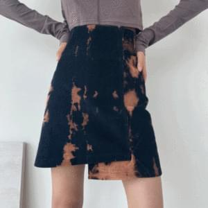 Golden tie-dye unfooted mini skirt