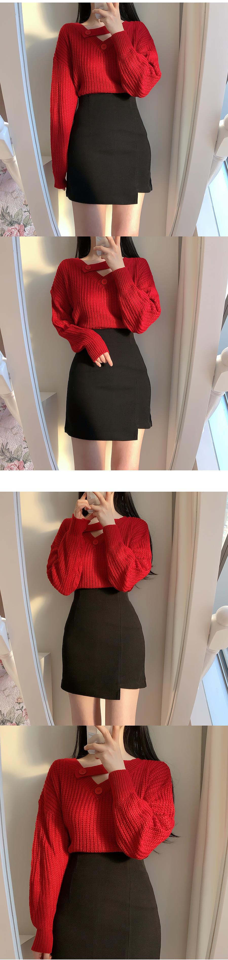 V領寬鬆紐扣針織衫