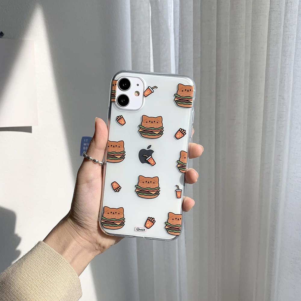 Cat Burger Pattern Transparent Jelly iPhone Case