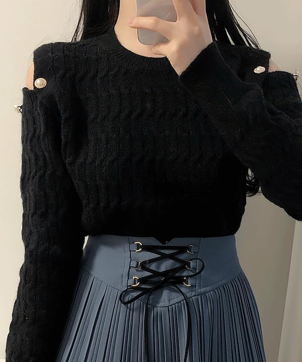 圓領露肩針織衫