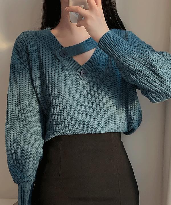 V領寬鬆紐扣針織衫 (人氣商品配送延遲)