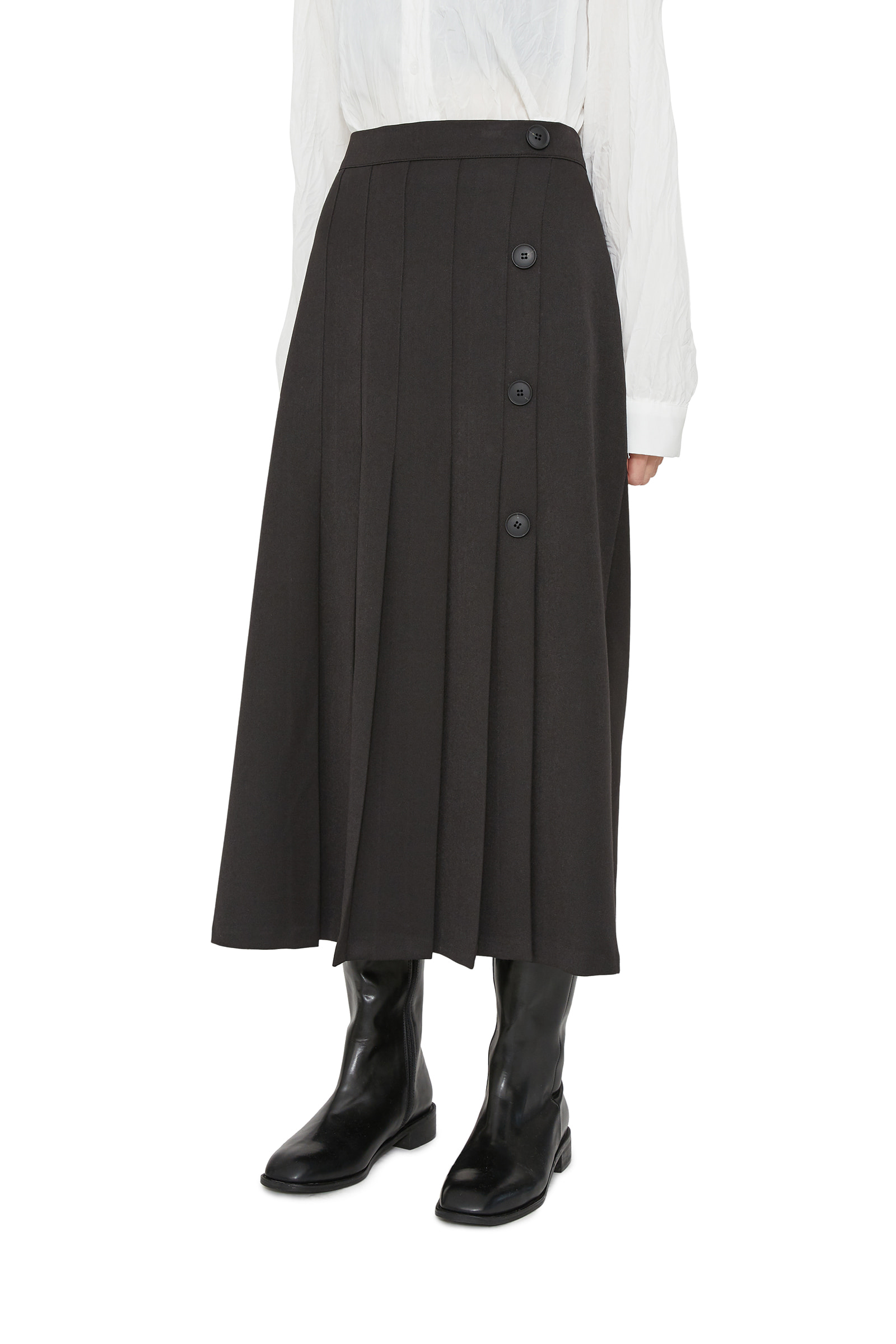 Foreign button pleated midi skirt