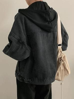 Dark Hooded Blue Jacket