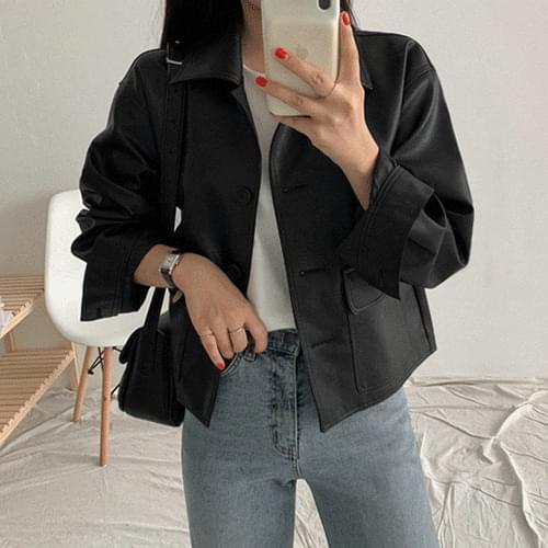 Randy Leather Semi Crop Jacket
