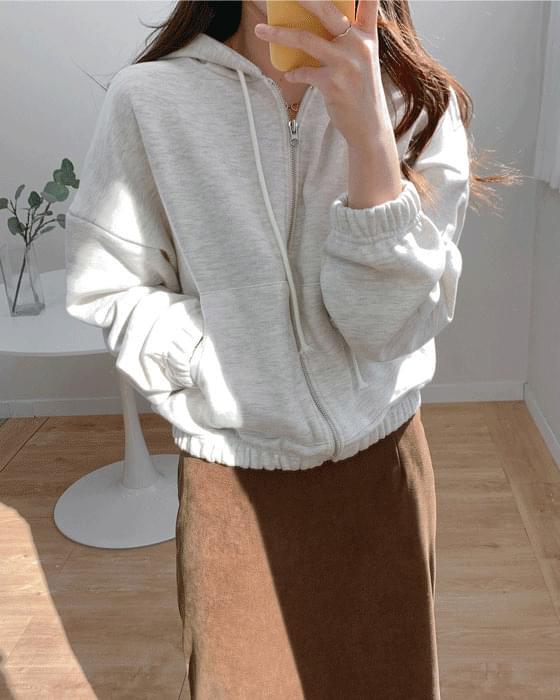 Daily short brushed hooded zip-up jumper-5color