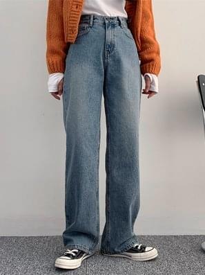 Lead Washing Denim Wide Pants