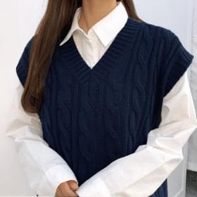 Pastel pretzel knit vest 開襟衫