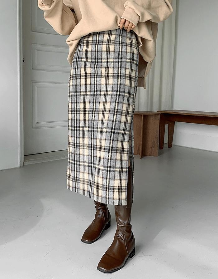 サイドディープスリットバックゴムチェックロングスカート