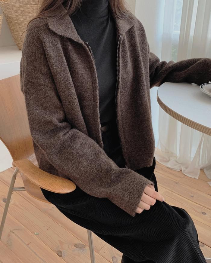 Western basic collar zip-up knit