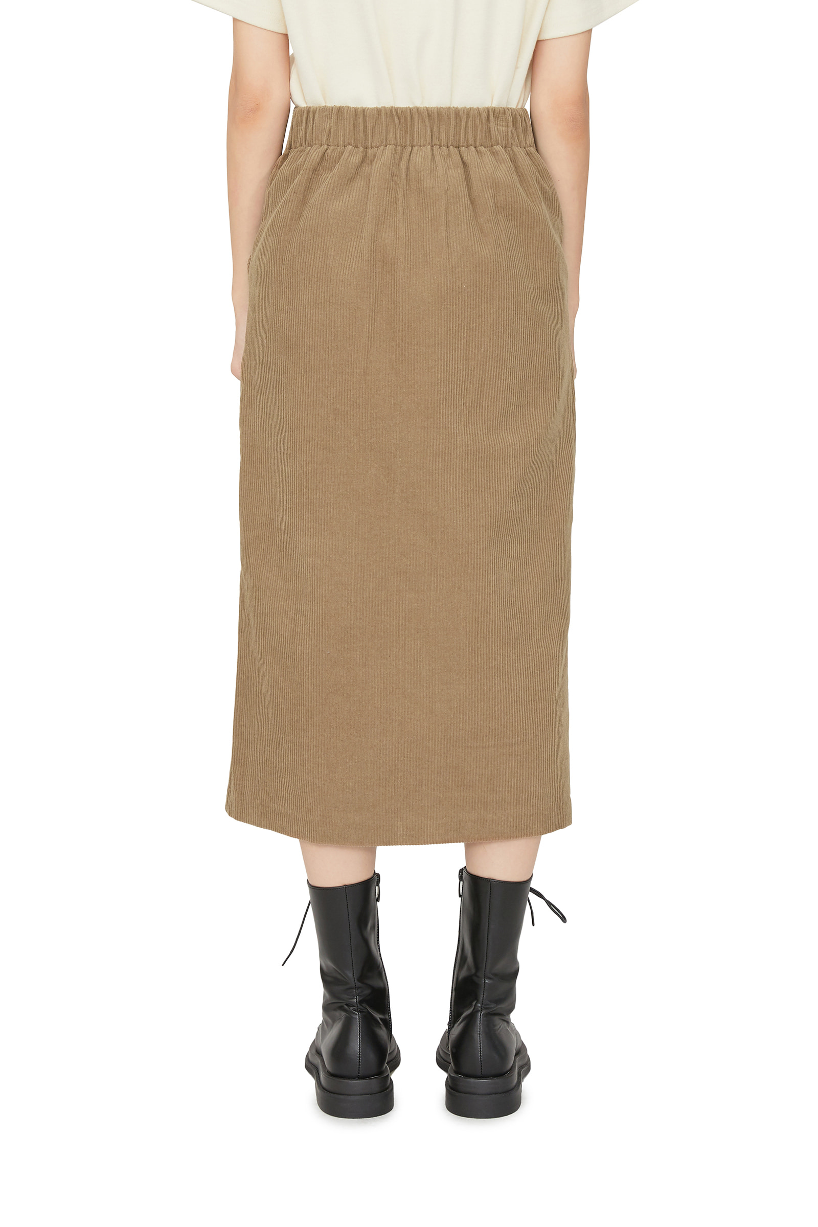 Golden slit midi skirt
