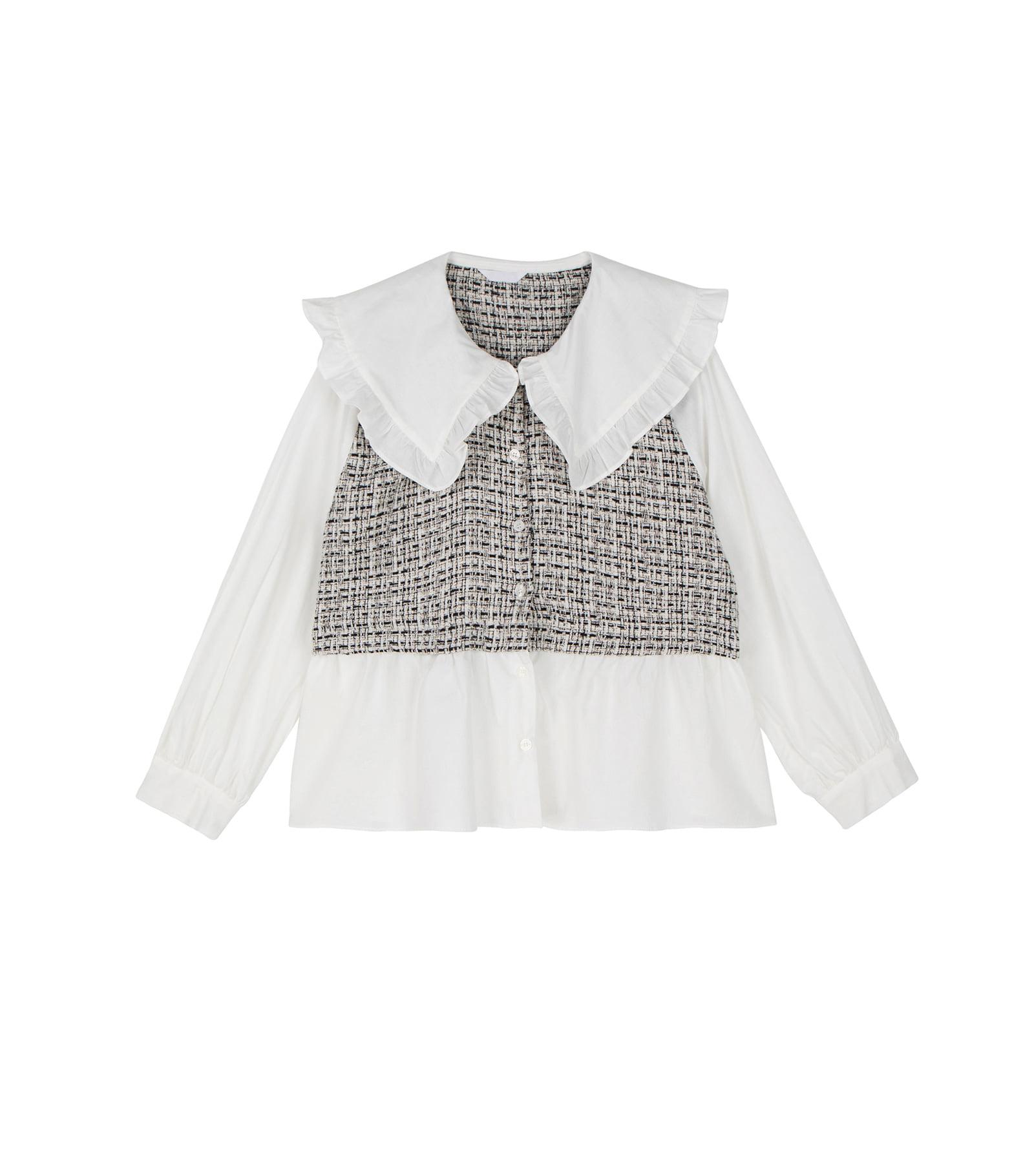 Lia frill tweed blouse