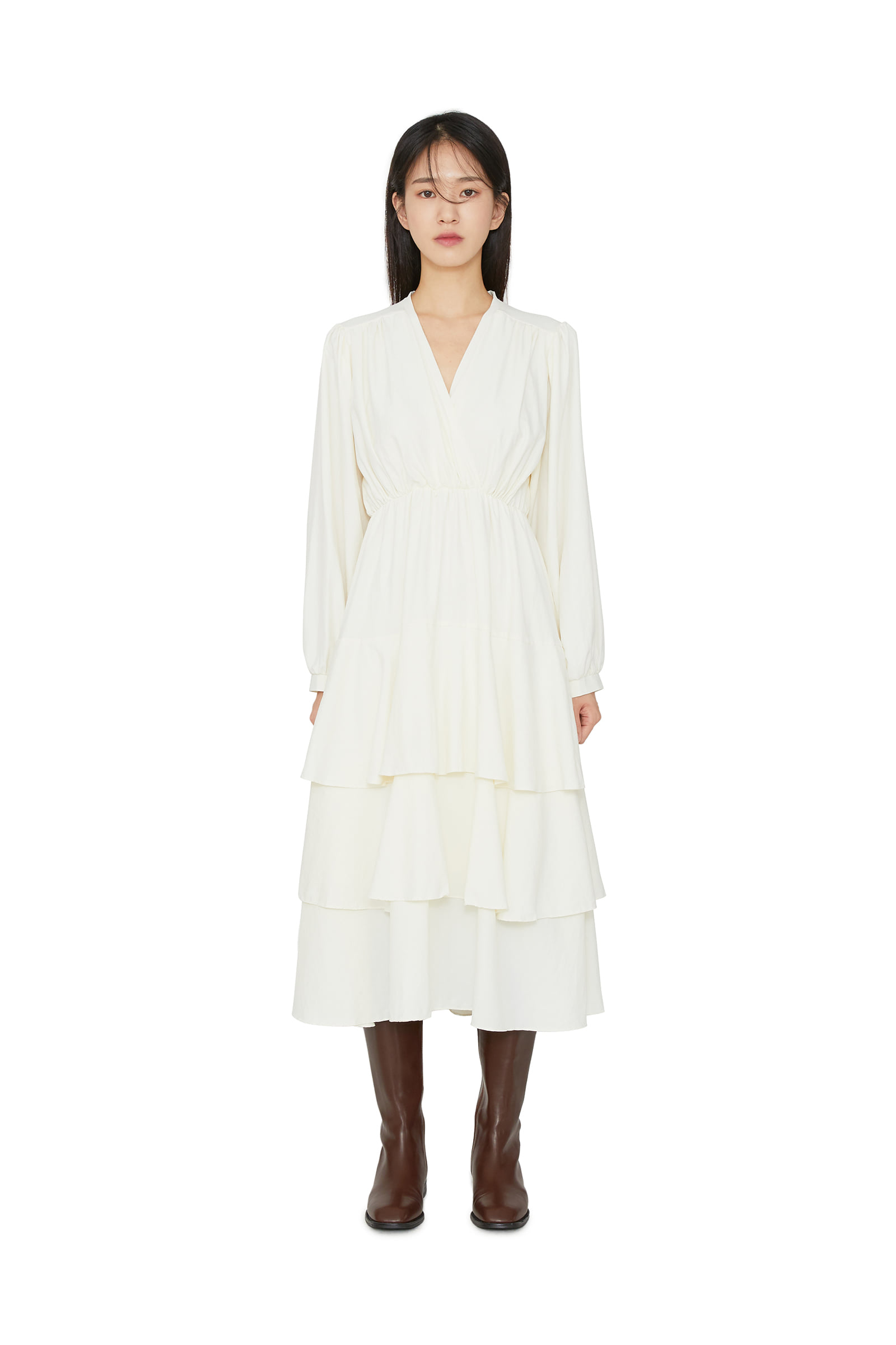 Rochelle ruffle midi dress