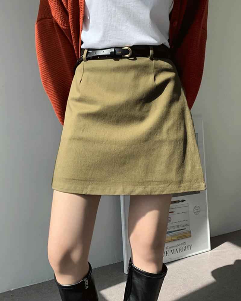 Artie cotton belted mini skirt