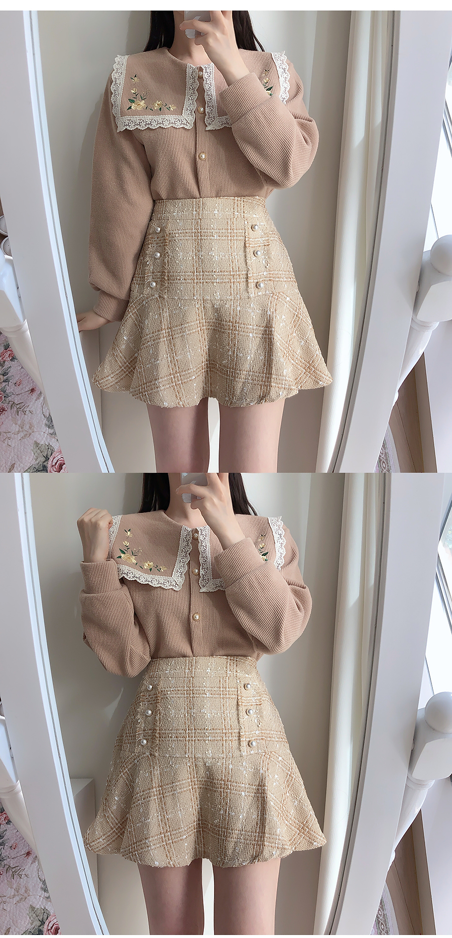 Daisy-embroidered lace knit cardigan