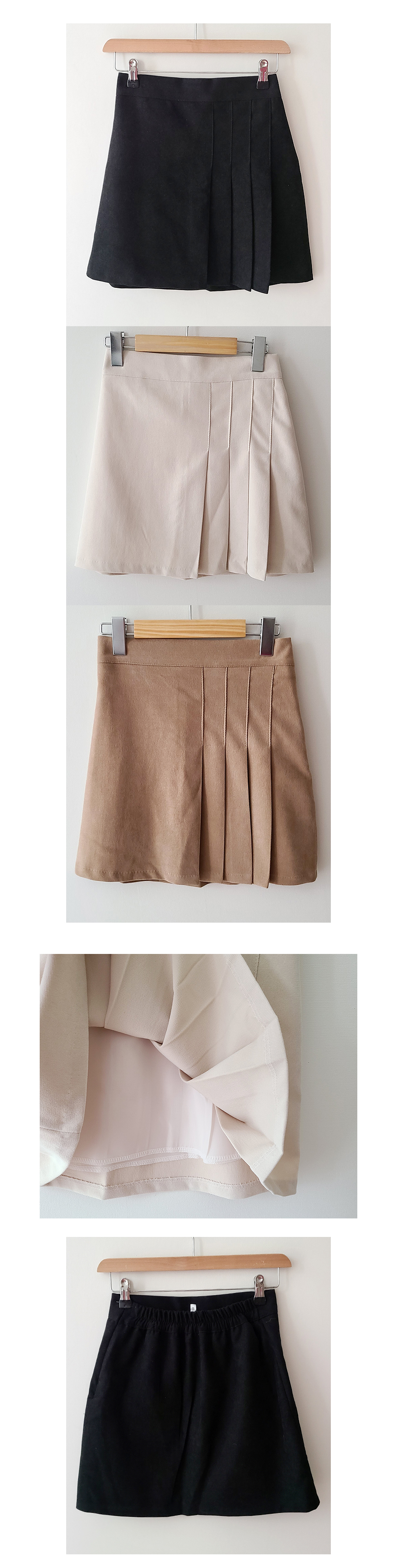 Biscuit pintuck pleated skirt