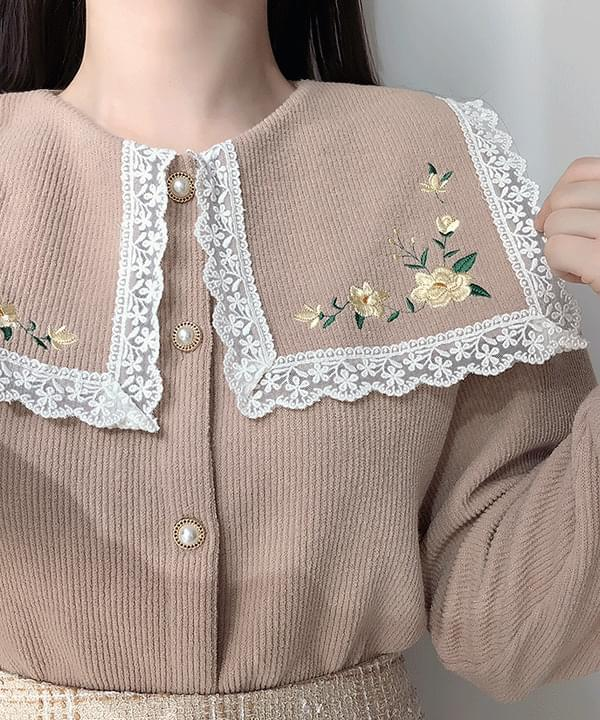 Daisy-embroidered lace knit cardigan Long Sleeve