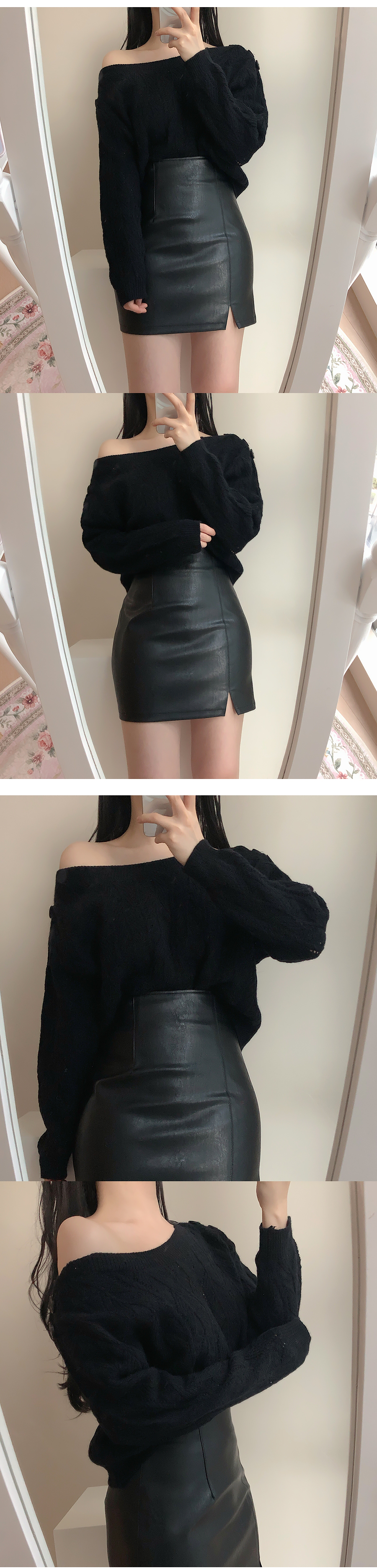 Vita leather split mini skirt