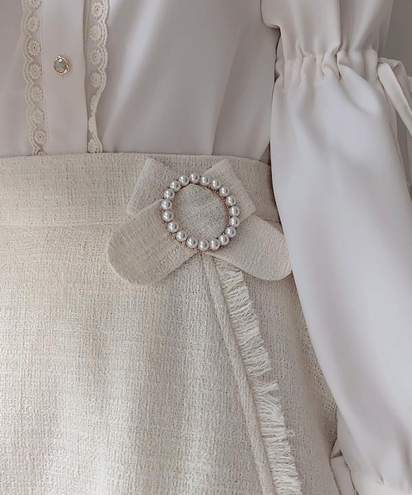 Core tweed pearl ring skirt pants