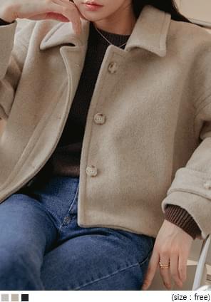 ウールブレンドメランジショートジャケット