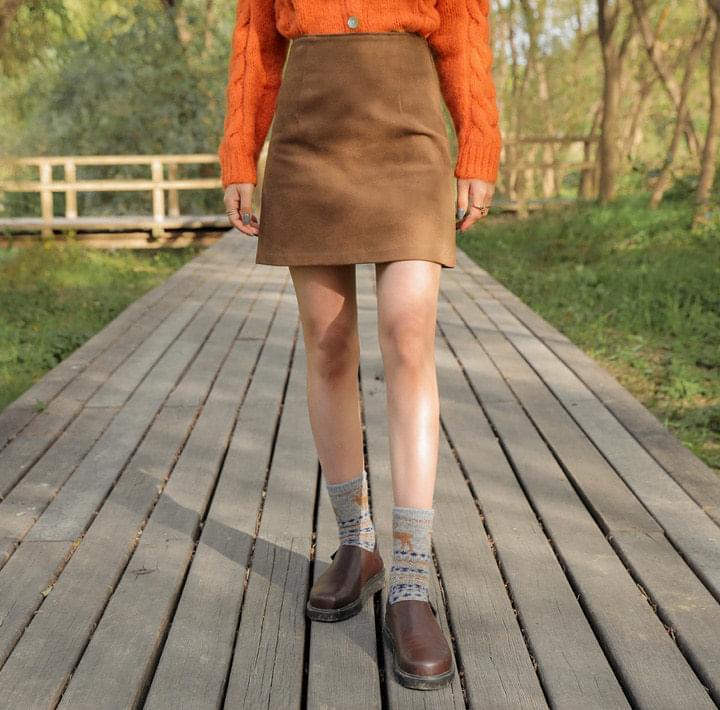 後拉鍊內刷毛A字短裙