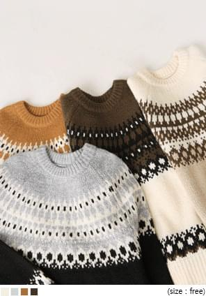 PRIS WOOL PATTERN ROUND KNIT