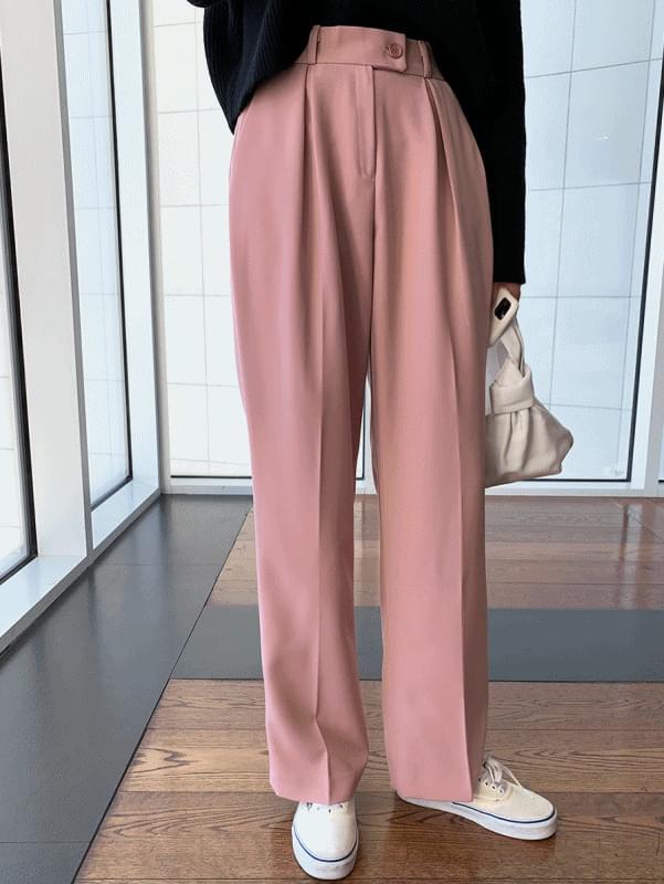 Double Pleated Slacks; Pink