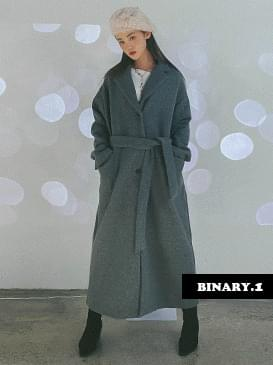 Belted wool long coat コート