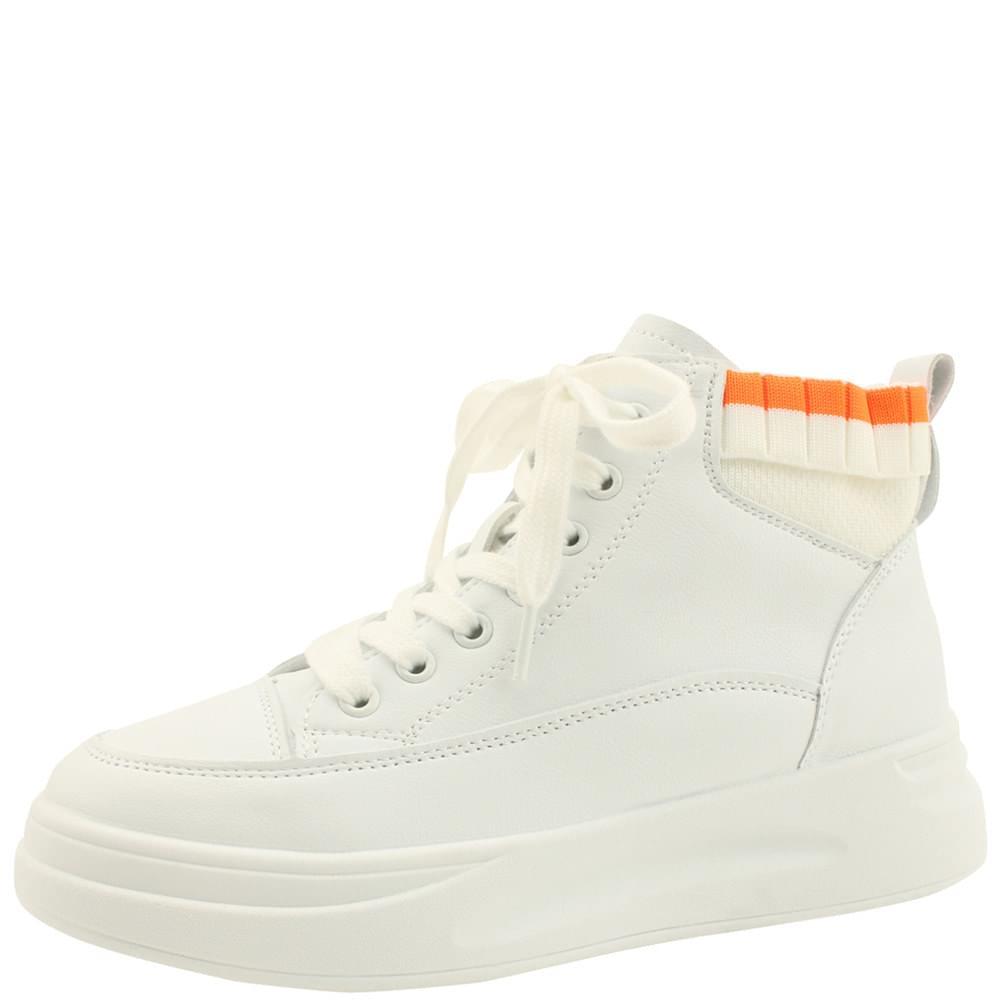 Knitted shibori high-top sneakers white