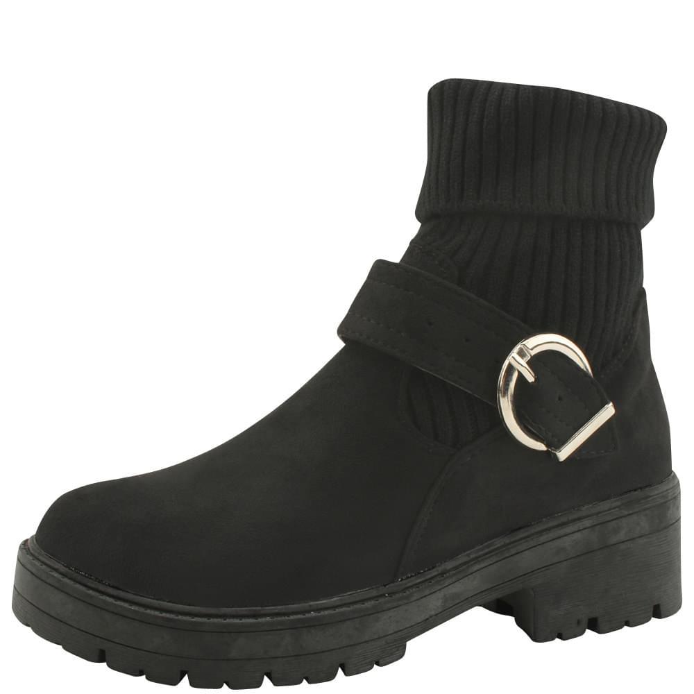 Knit Casual Flatwalker Boots Black