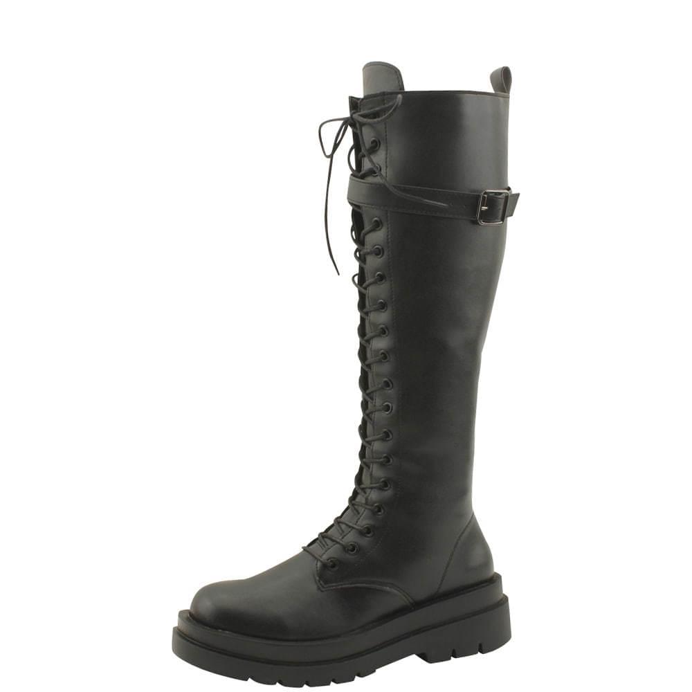 Platform Middle Heel Buckle Walker Long Boot 5cm