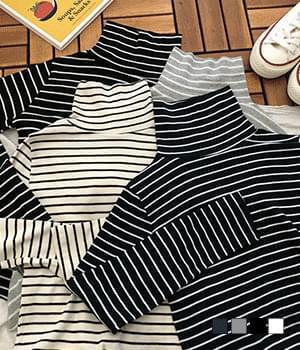 韓國空運 - Anti- Striped Turtleneck T-shirt 長袖上衣