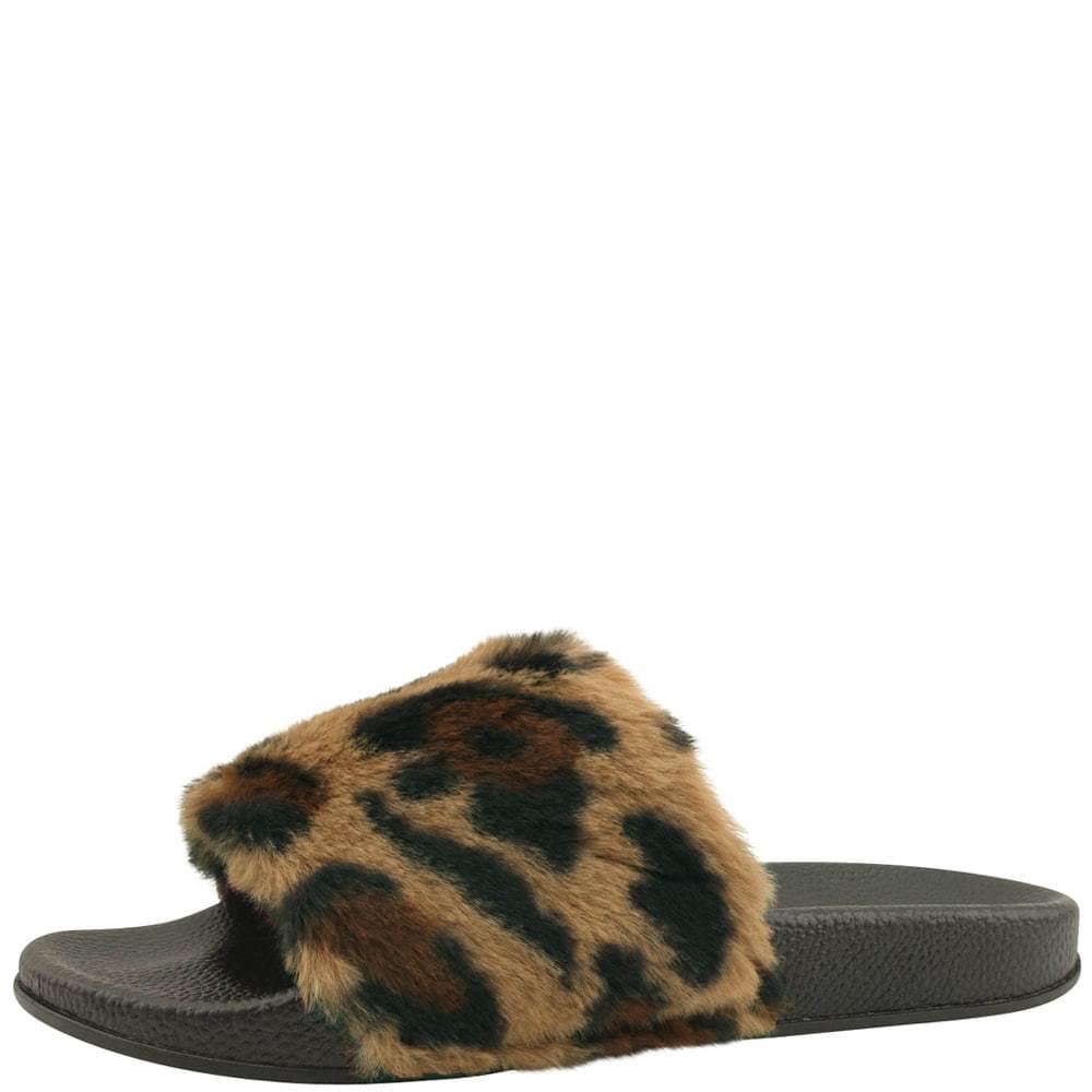 Leopard fur slippers brown