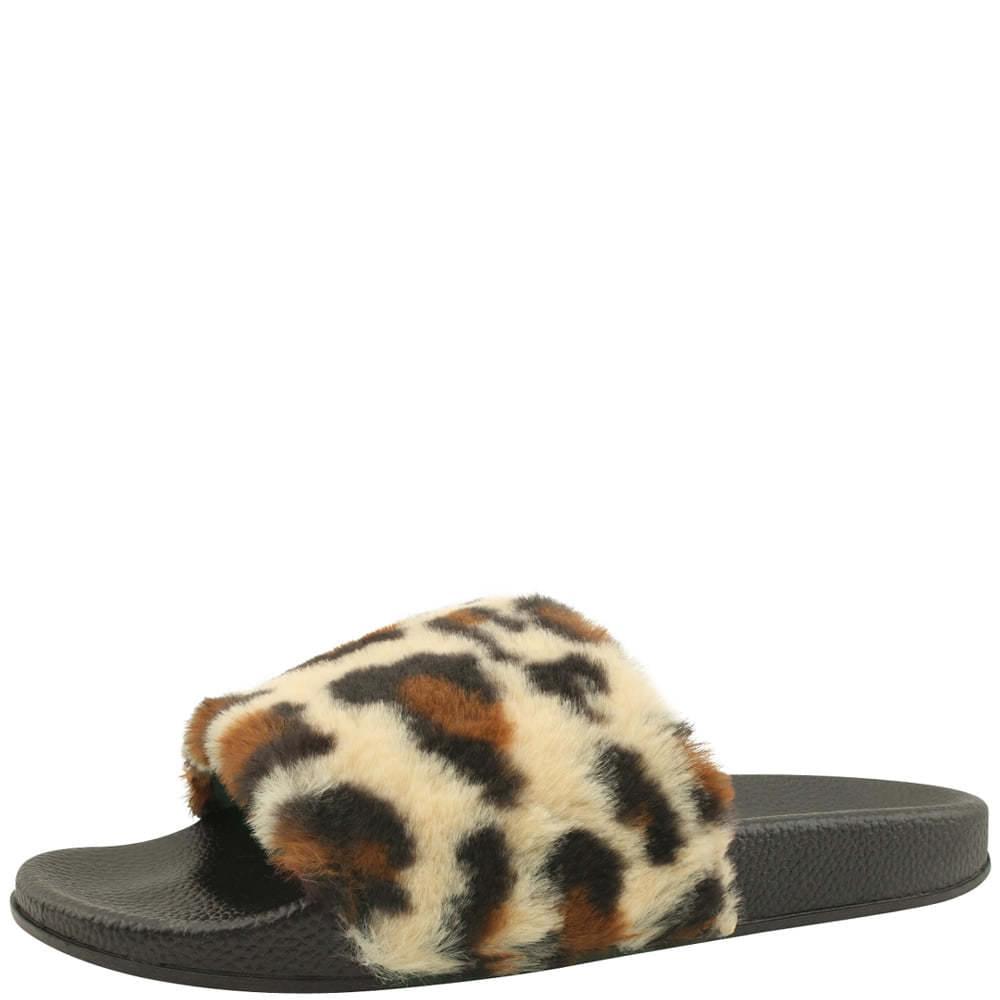 Leopard fur slippers beige