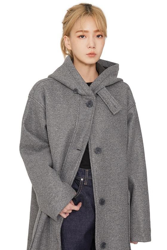 Formal single hooded long coat
