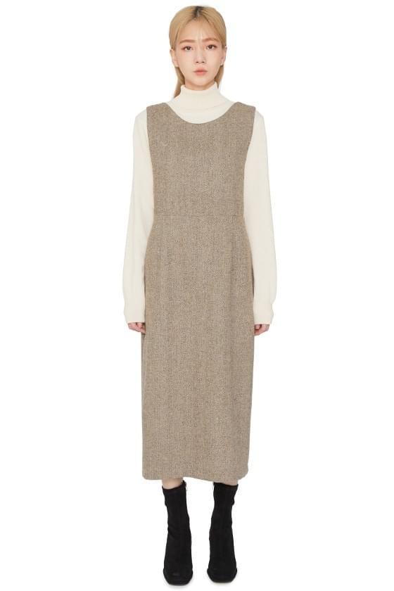 Fran herringbone midi dress ワンピース