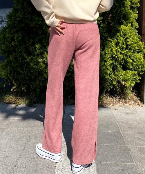 Ribbed side split wide band pants
