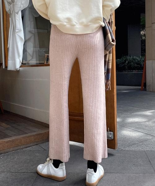 Winter ribbed wide knit pants