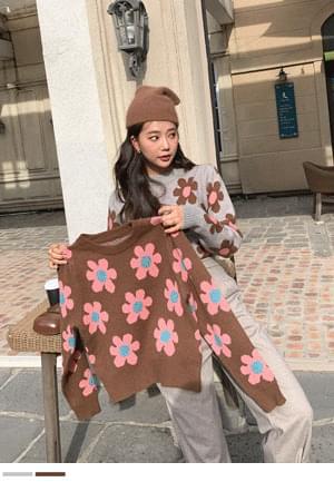 Brilliant charm burst flower knit