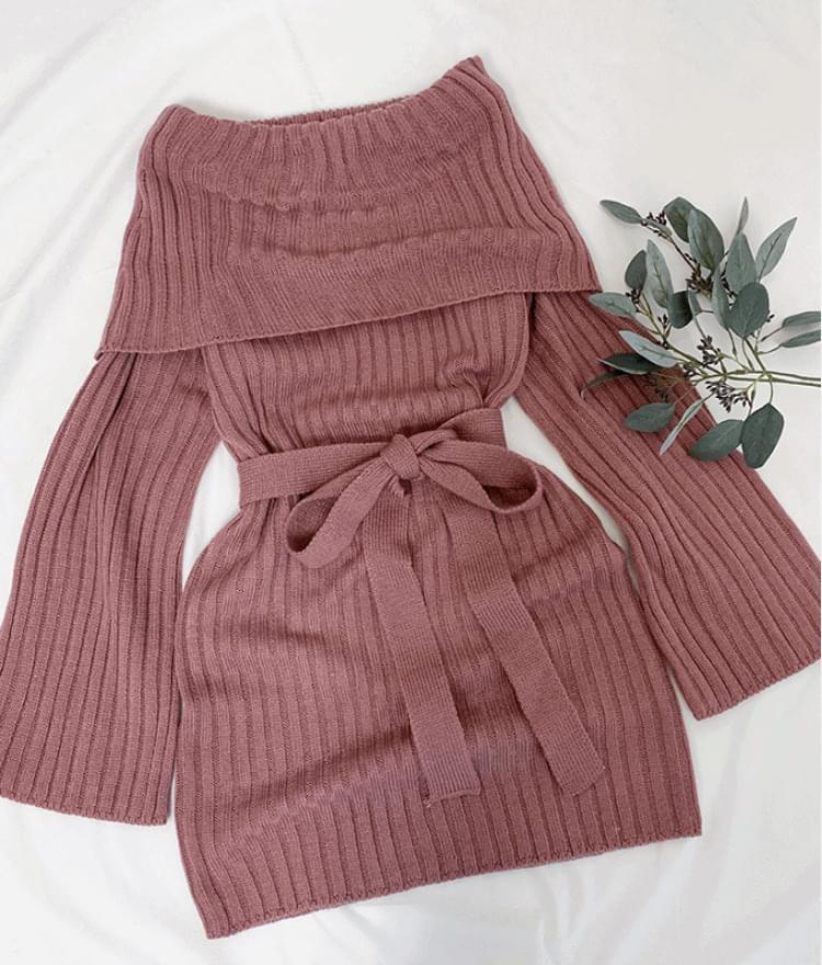 Tulip Off Shoulder Knit Dress 洋裝