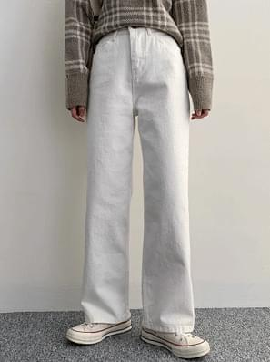 Rare button cotton straight wide pants