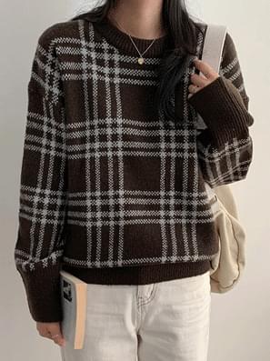 Pound check round knit
