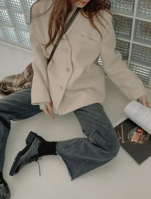 Sandy no-collar neck wool jacket