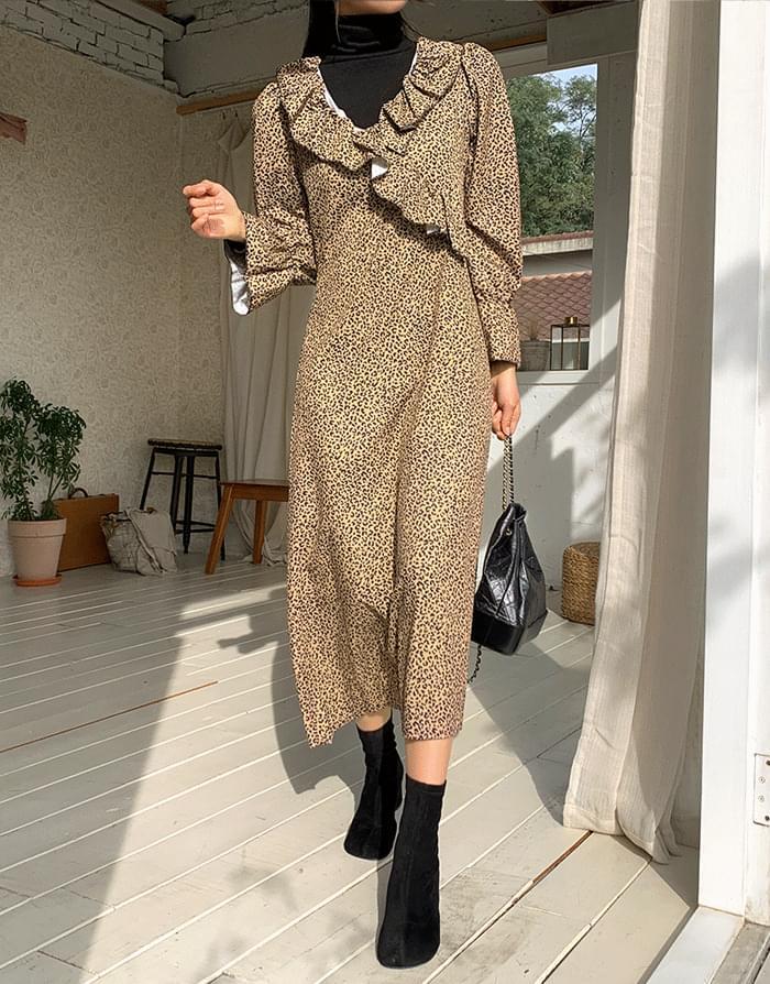 Leopard frill dress 洋裝