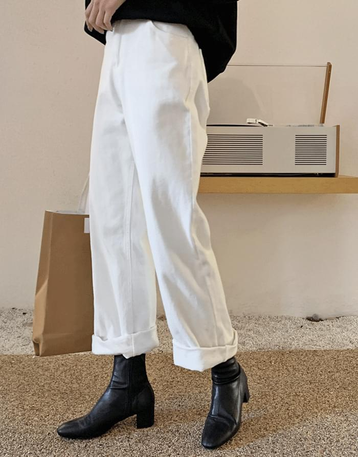 White brushed wide denim trousers